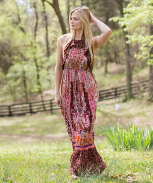 Aberdeene Paisly Maxi Dress