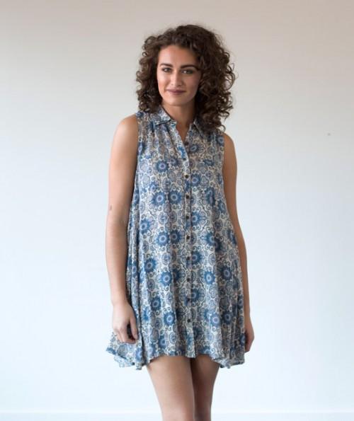 Blue Dahlia Button Down Dress