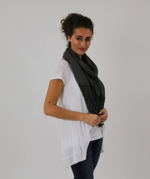 Dark Gray Scarf with Lace
